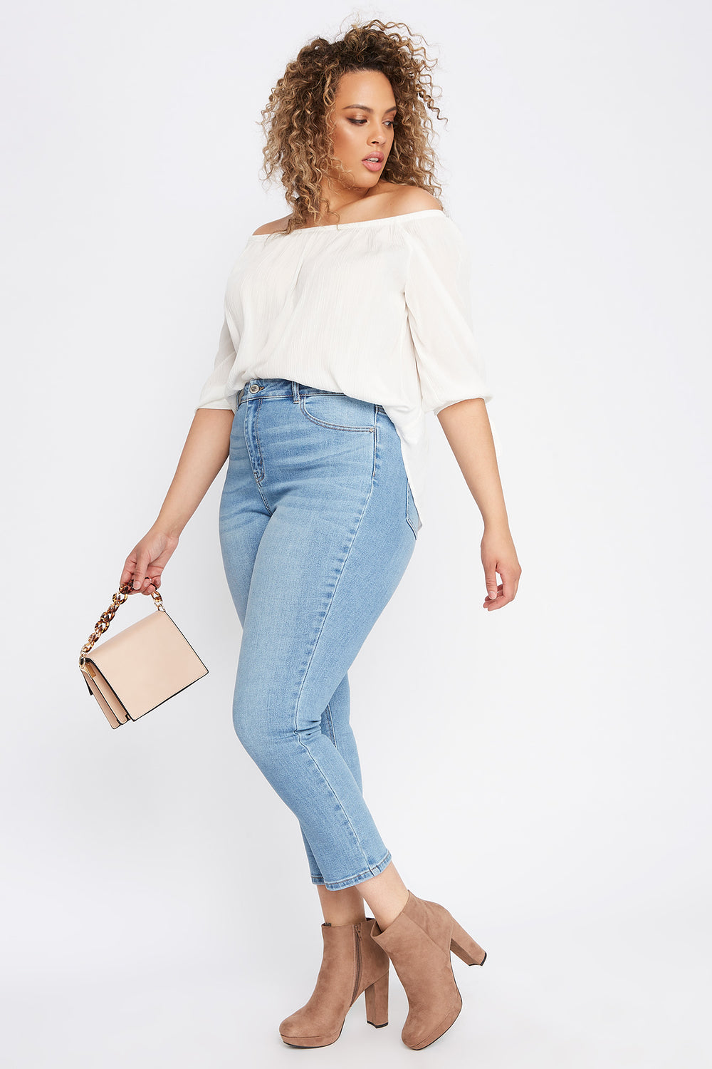 Plus Size High-Rise Straight Jean Light Denim Blue