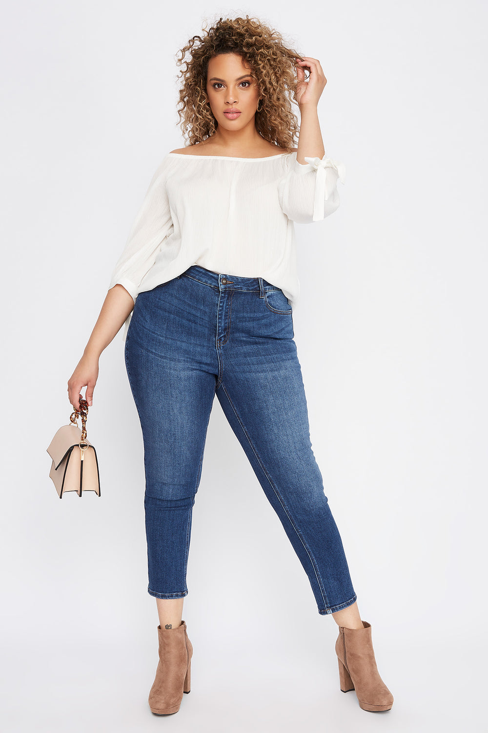 Plus Size High-Rise Straight Jean Dark Blue