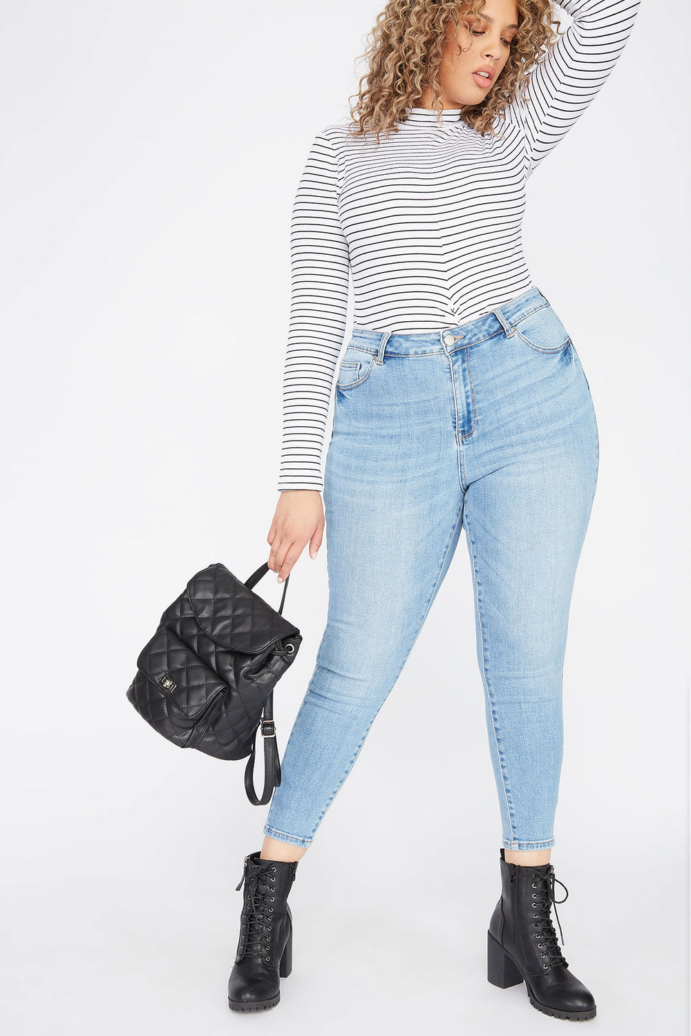 Plus Size Butt, I Love You High-Rise Push-Up Skinny Jean Light Denim Blue