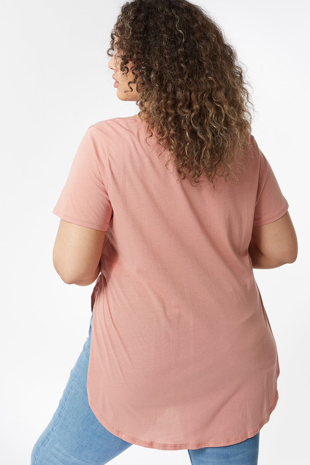 Plus Size Oversized Henley T-Shirt Mauve