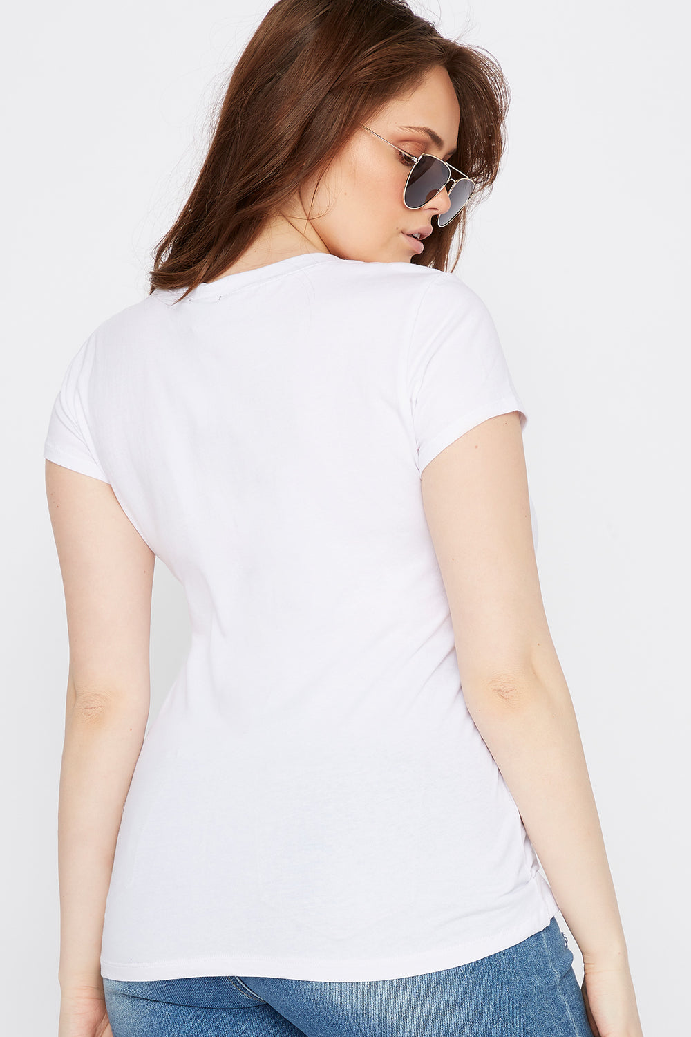 Plus Size V-Neck Basic T-Shirt White