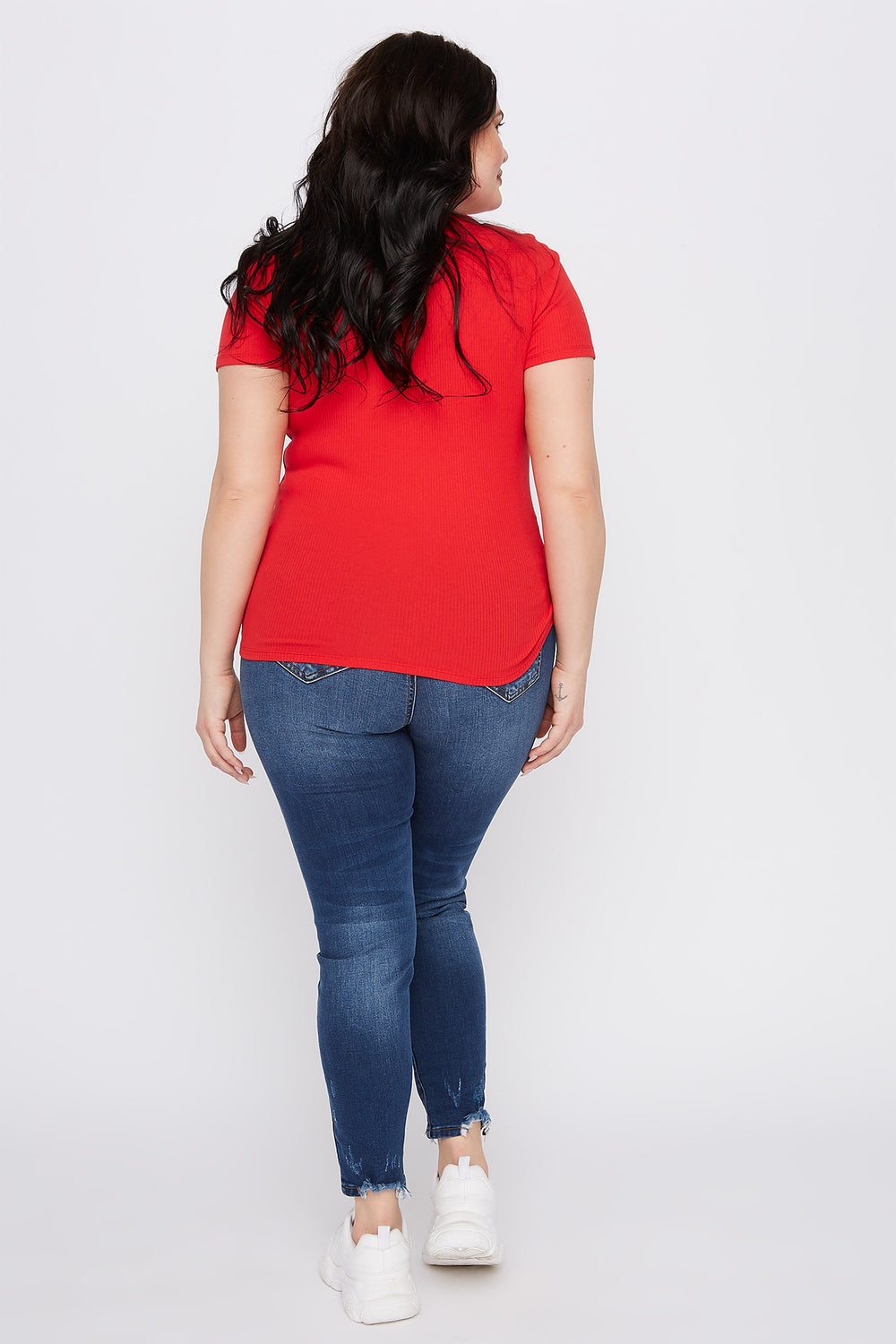 Plus Size Ribbed Button-Up V-Neck T-Shirt Red