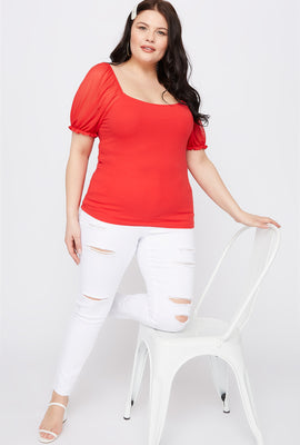 Plus Size Mesh Puff Sleeve T-Shirt