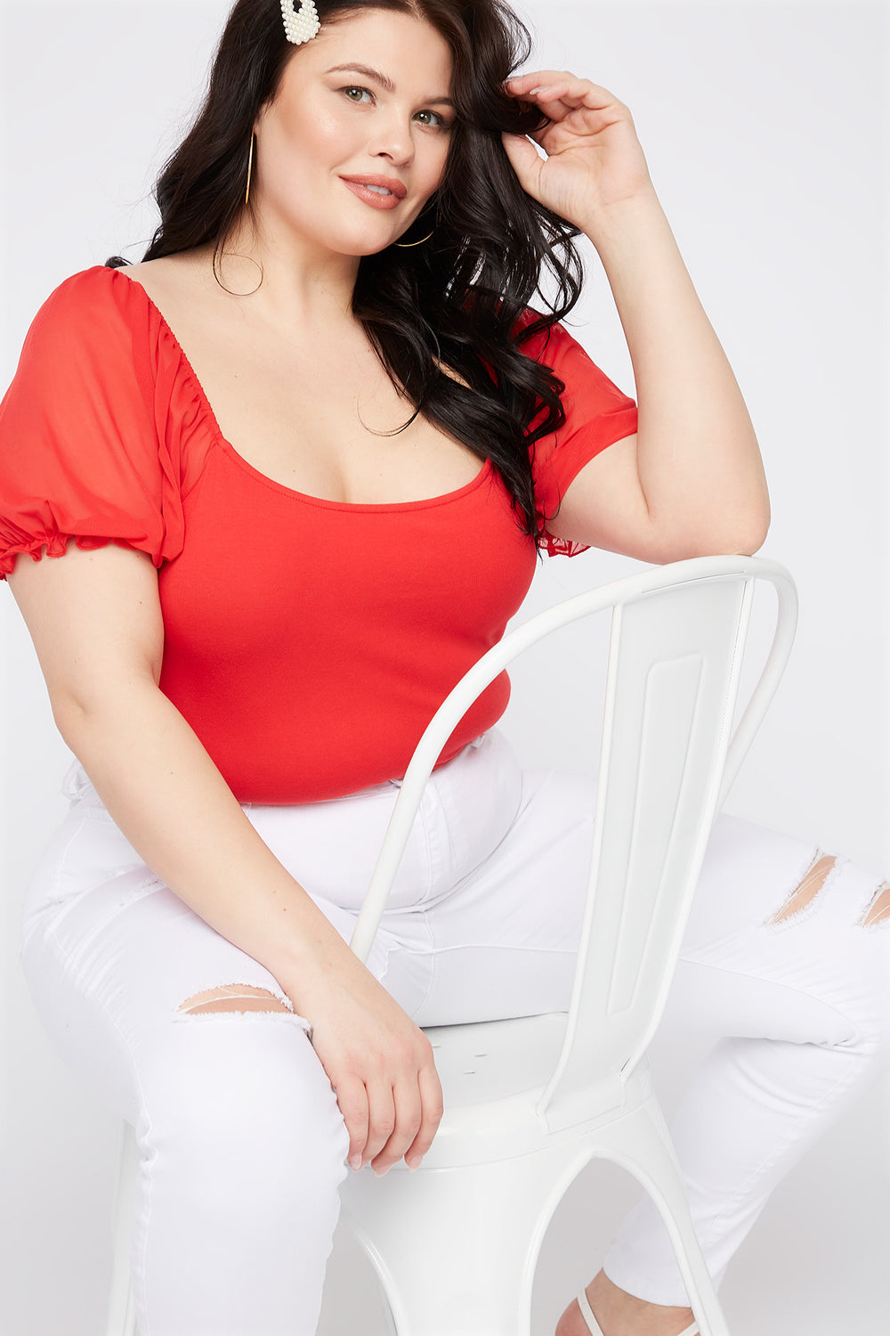 Plus Size Mesh Puff Sleeve T-Shirt Red
