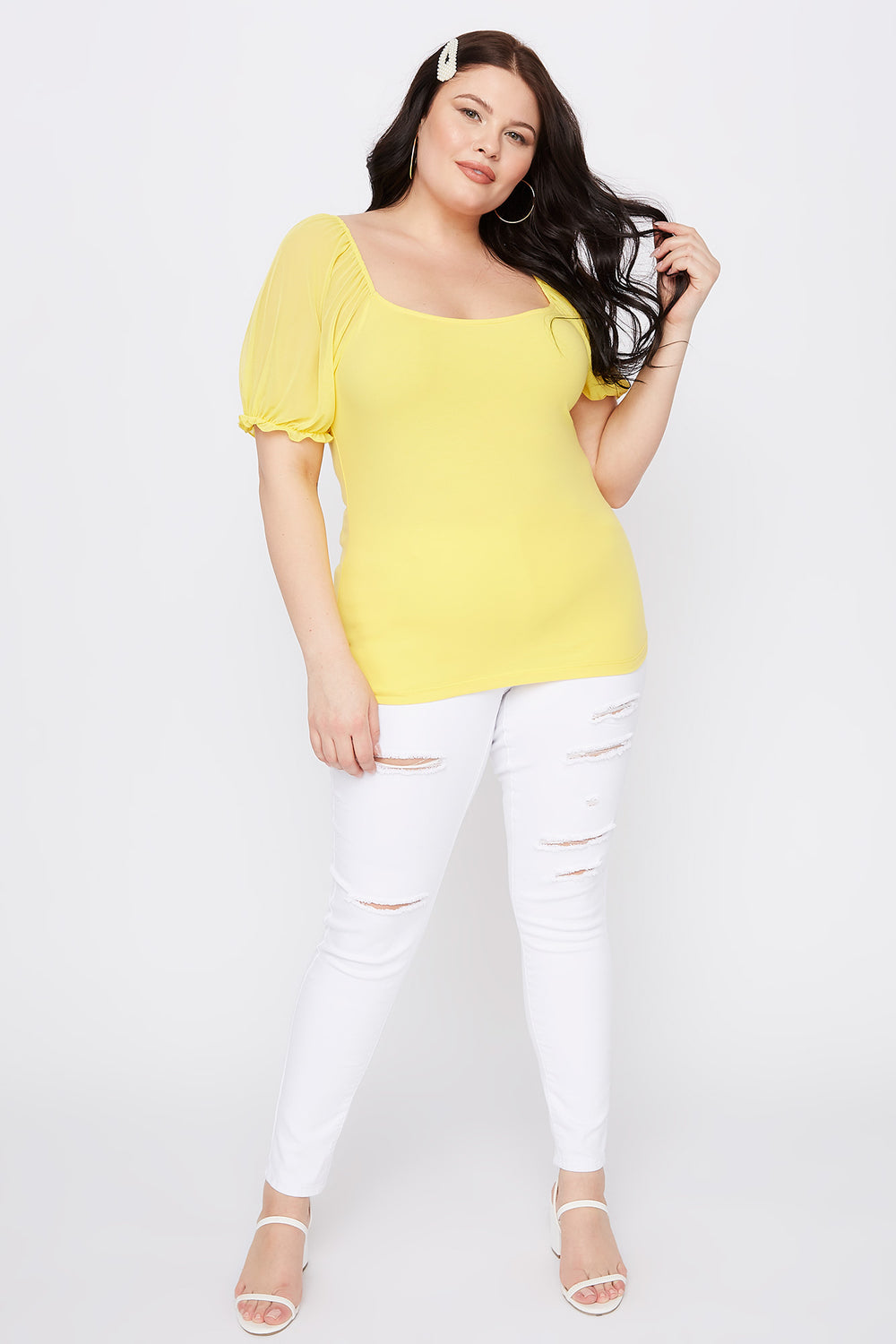 Plus Size Mesh Puff Sleeve T-Shirt Yellow