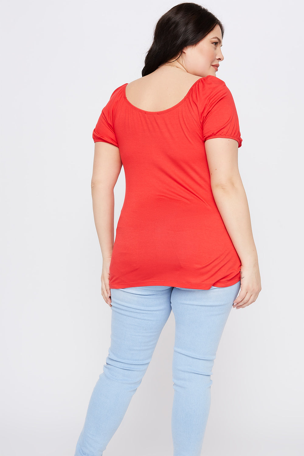 Plus Size Ruched V-Neck Short Sleeve Top Red