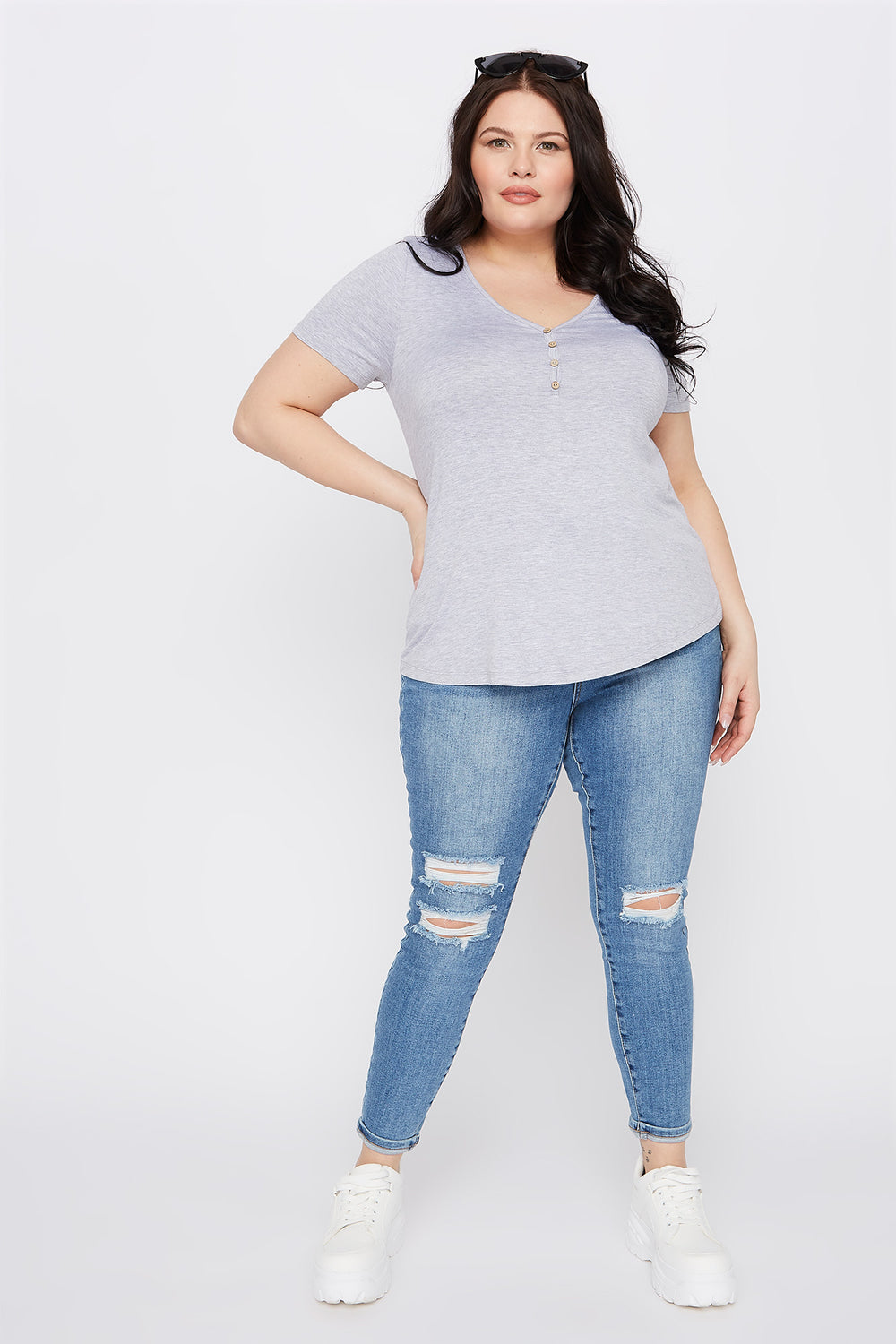 Plus Size Button-Up V-Neck T-Shirt Heather Grey