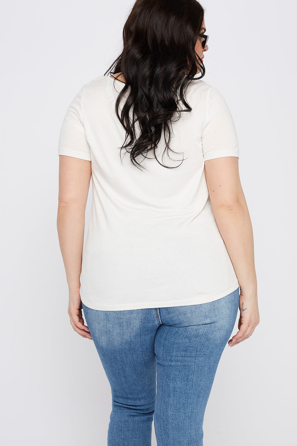 Plus Size Button-Up V-Neck T-Shirt Off White