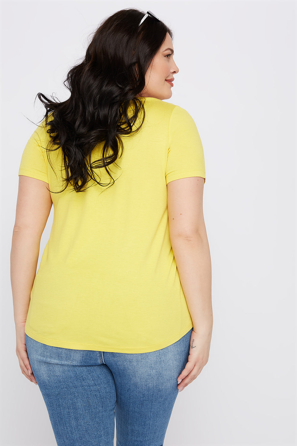 Plus Size Button-Up V-Neck T-Shirt Yellow