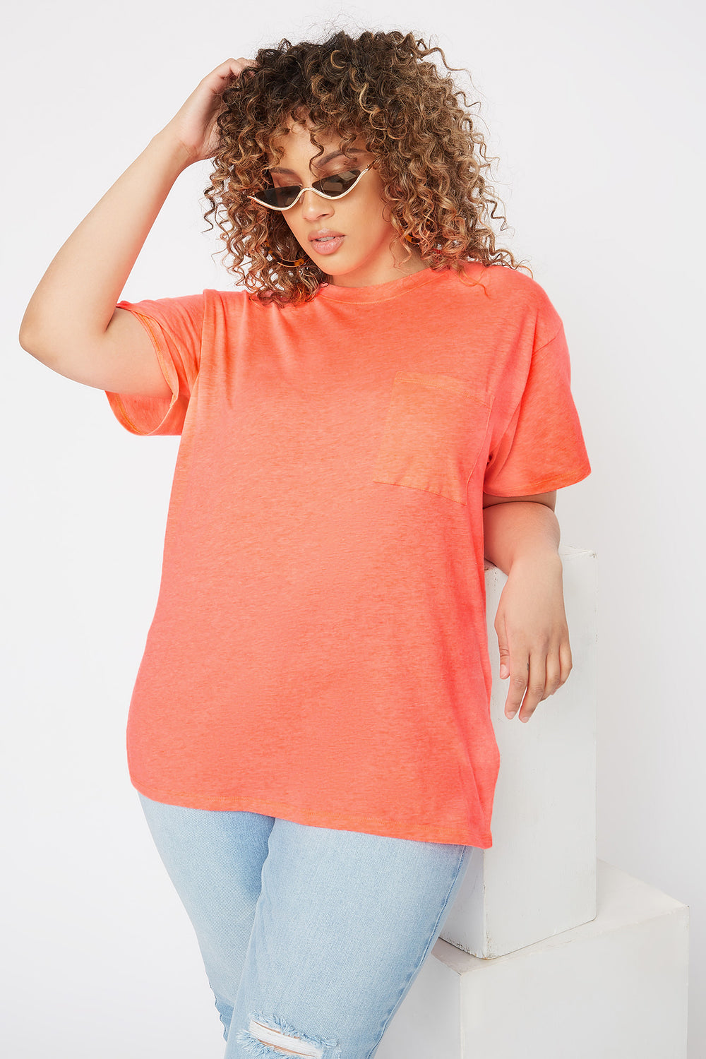 Plus Size Oversized Pocket T-Shirt Neon Orange