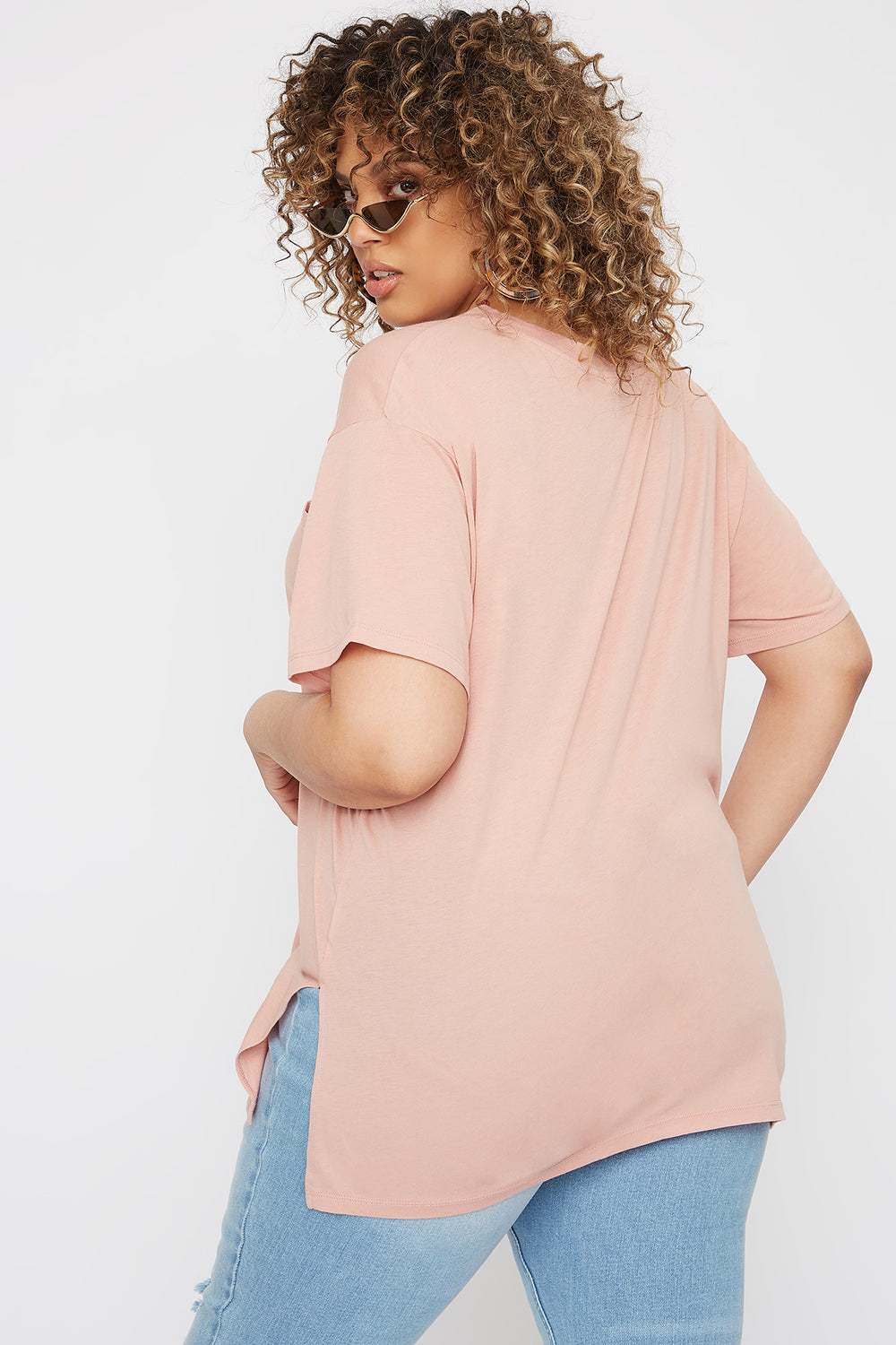 Plus Size Oversized Pocket T-Shirt Mauve
