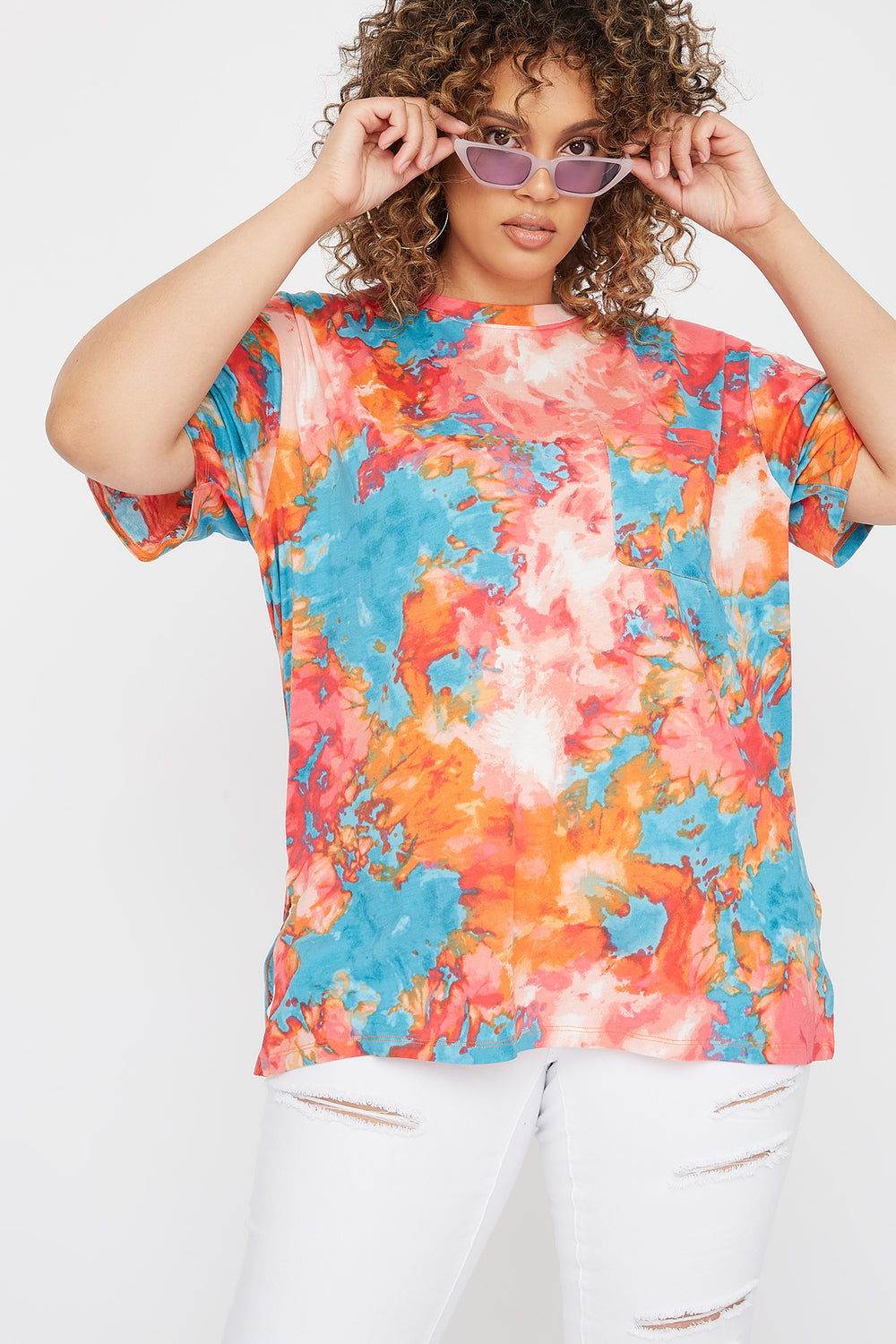 Plus Size Oversized Tie Dye Pocket T-Shirt Pink