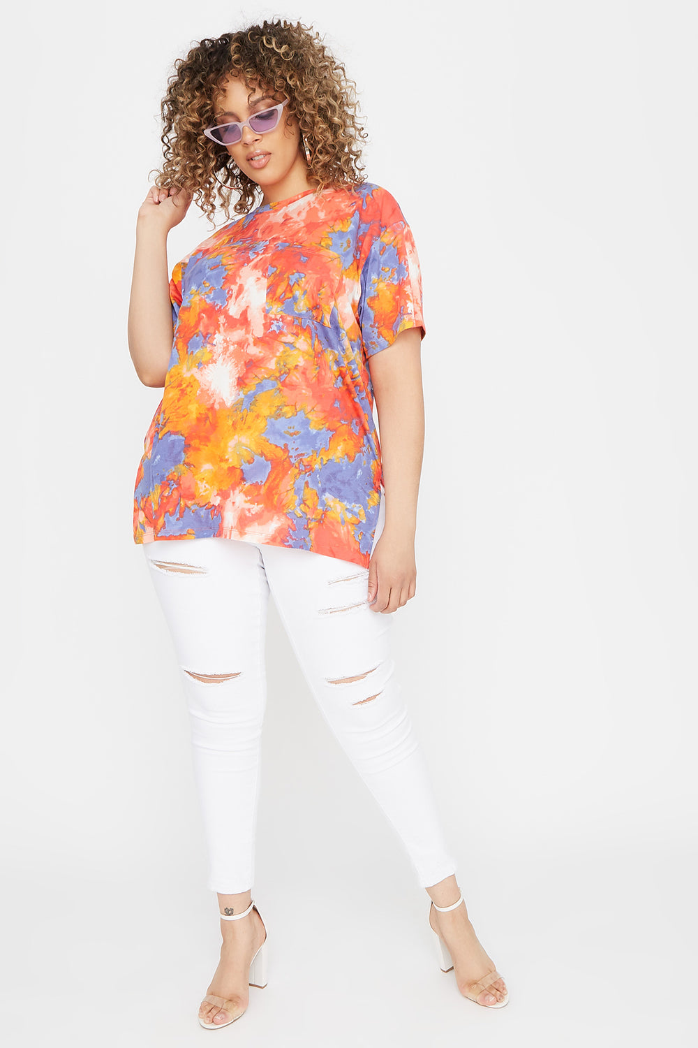 Plus Size Oversized Tie Dye Pocket T-Shirt Orange