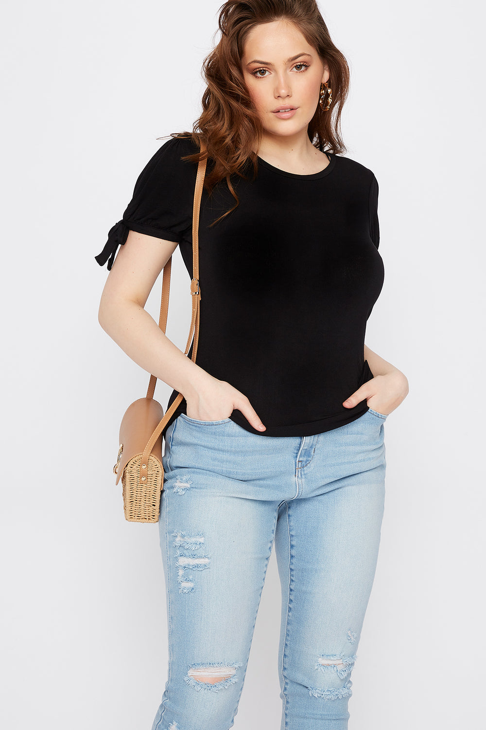 Plus Size Puff Tie Sleeve T-Shirt Black