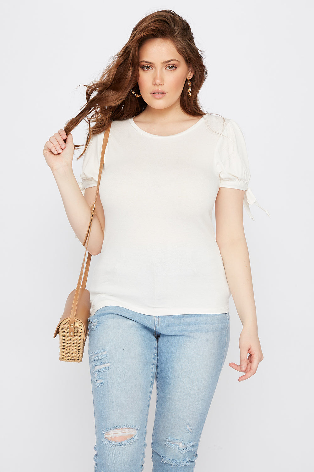 Plus Size Puff Tie Sleeve T-Shirt Off White