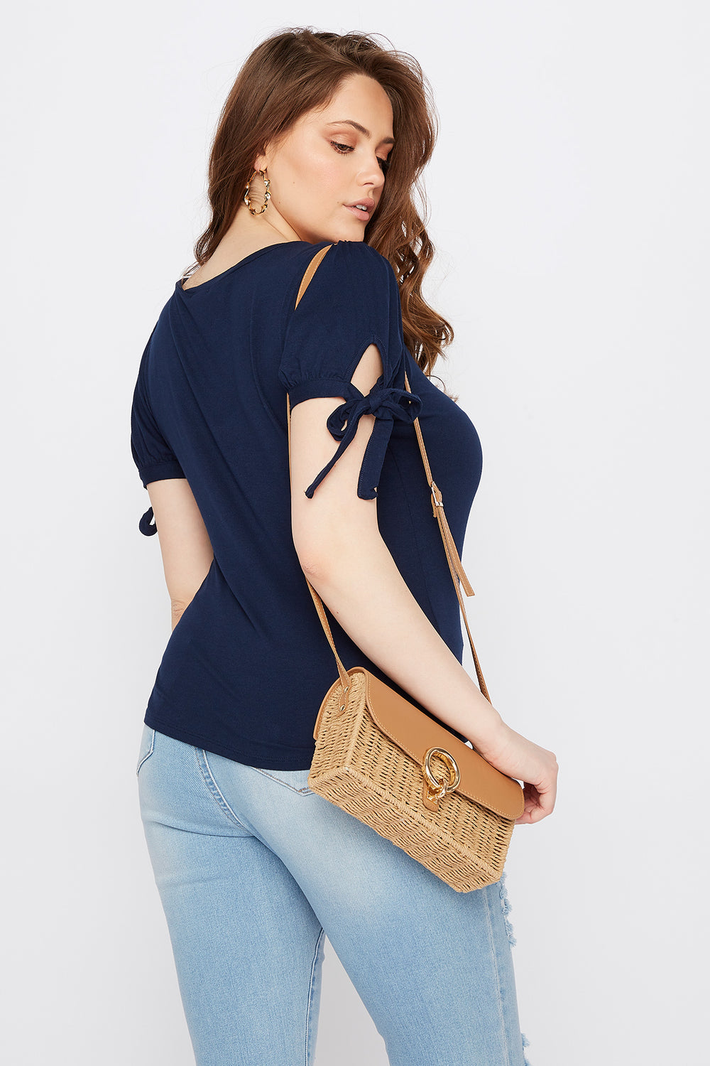 Plus Size Puff Tie Sleeve T-Shirt Navy