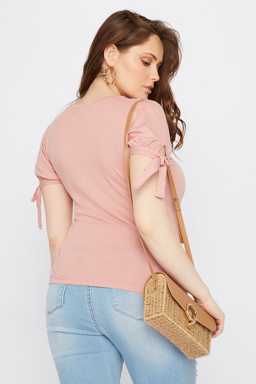 Plus Size Puff Tie Sleeve T-Shirt Mauve