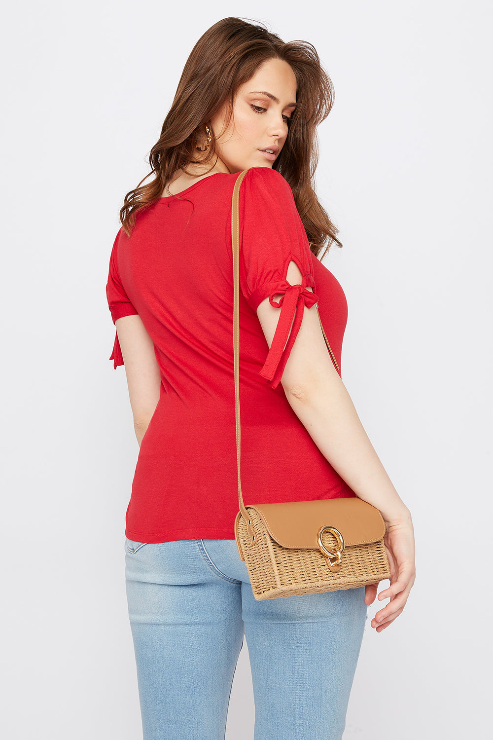 Plus Size Puff Tie Sleeve T-Shirt Red