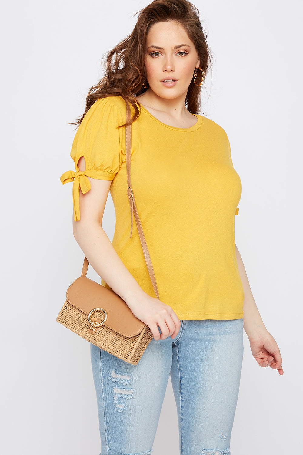 Plus Size Puff Tie Sleeve T-Shirt Mustard