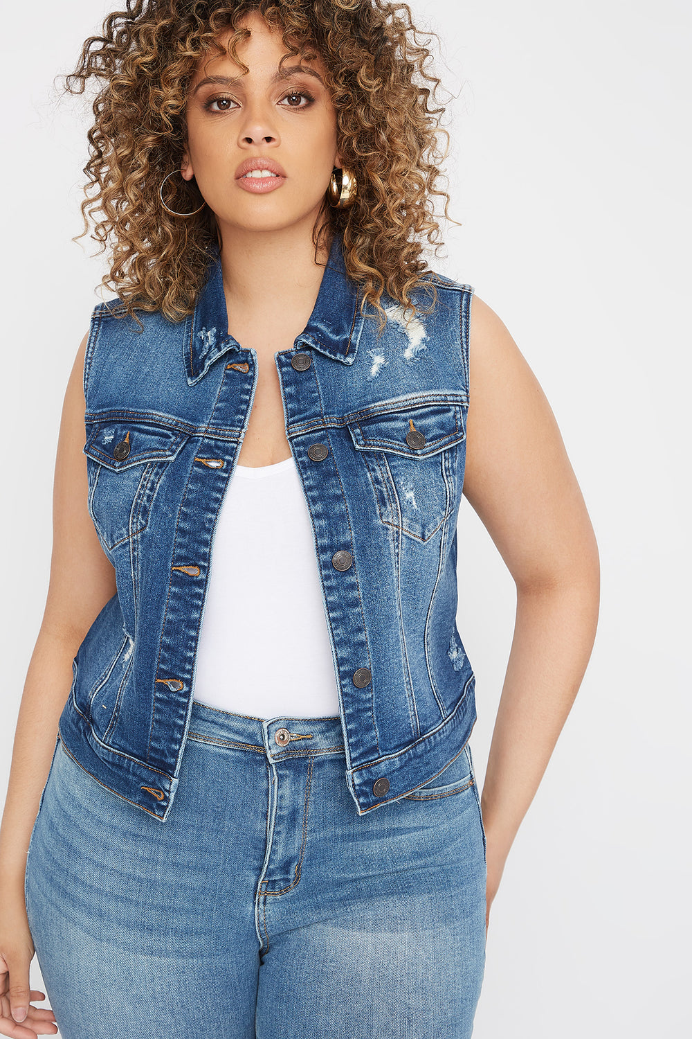 Plus Size Distressed Denim Vest Navy Blue