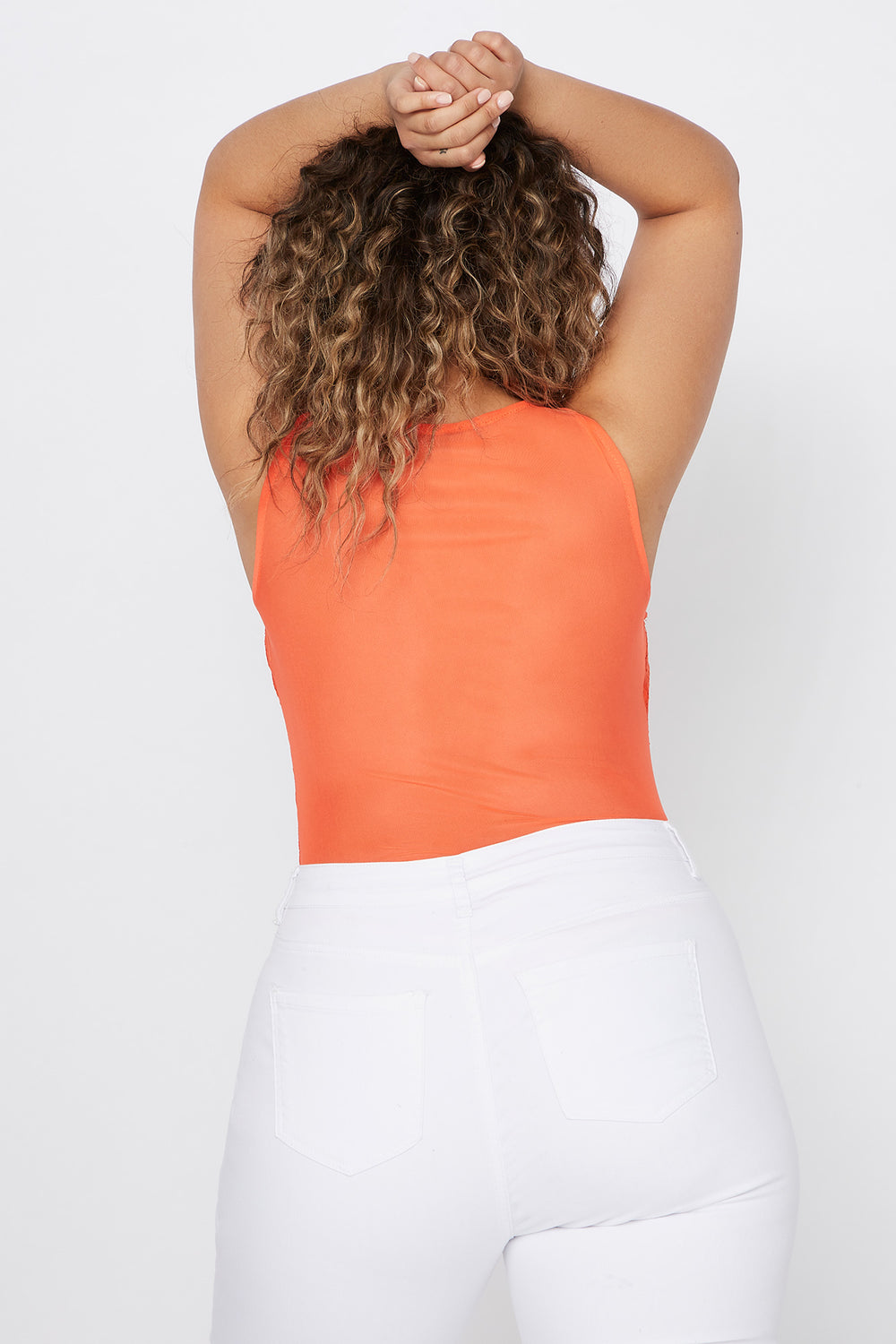 Plus Size Contrast Lace Mesh Tank Bodysuit Orange