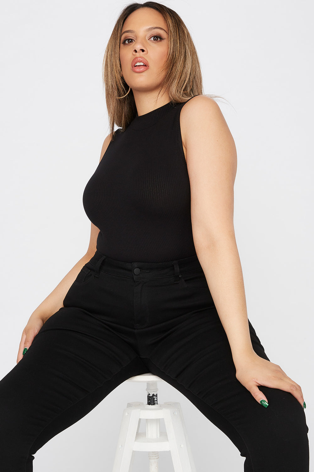 Plus Size Ribbed Mock Neck Bodysuit Black