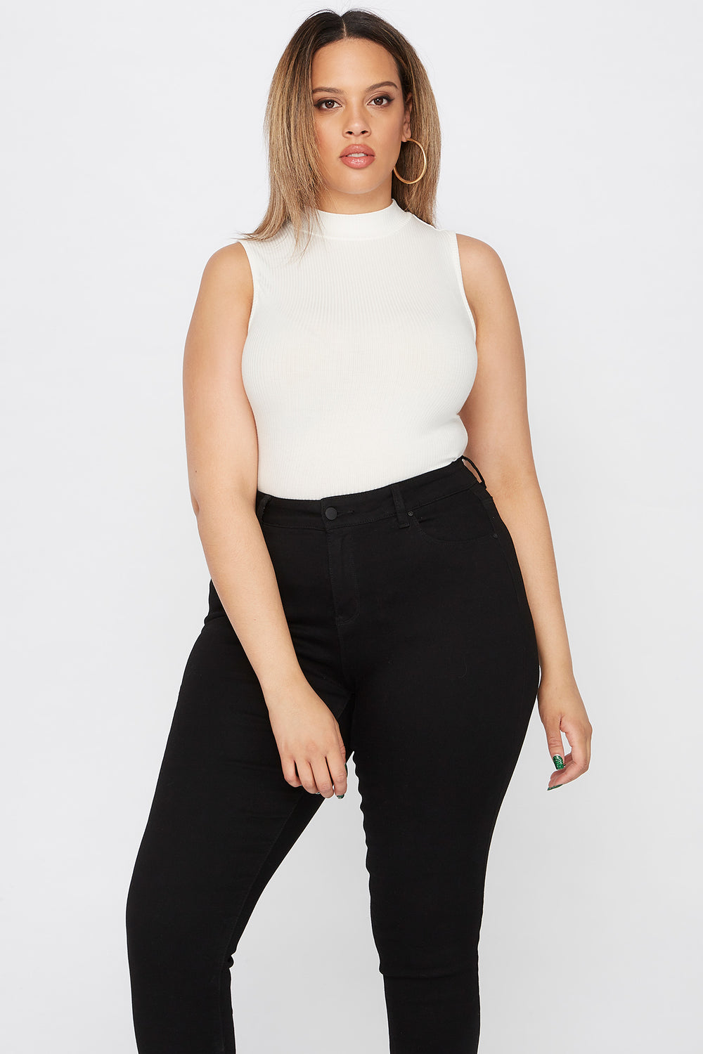 Plus Size Ribbed Mock Neck Bodysuit Off White