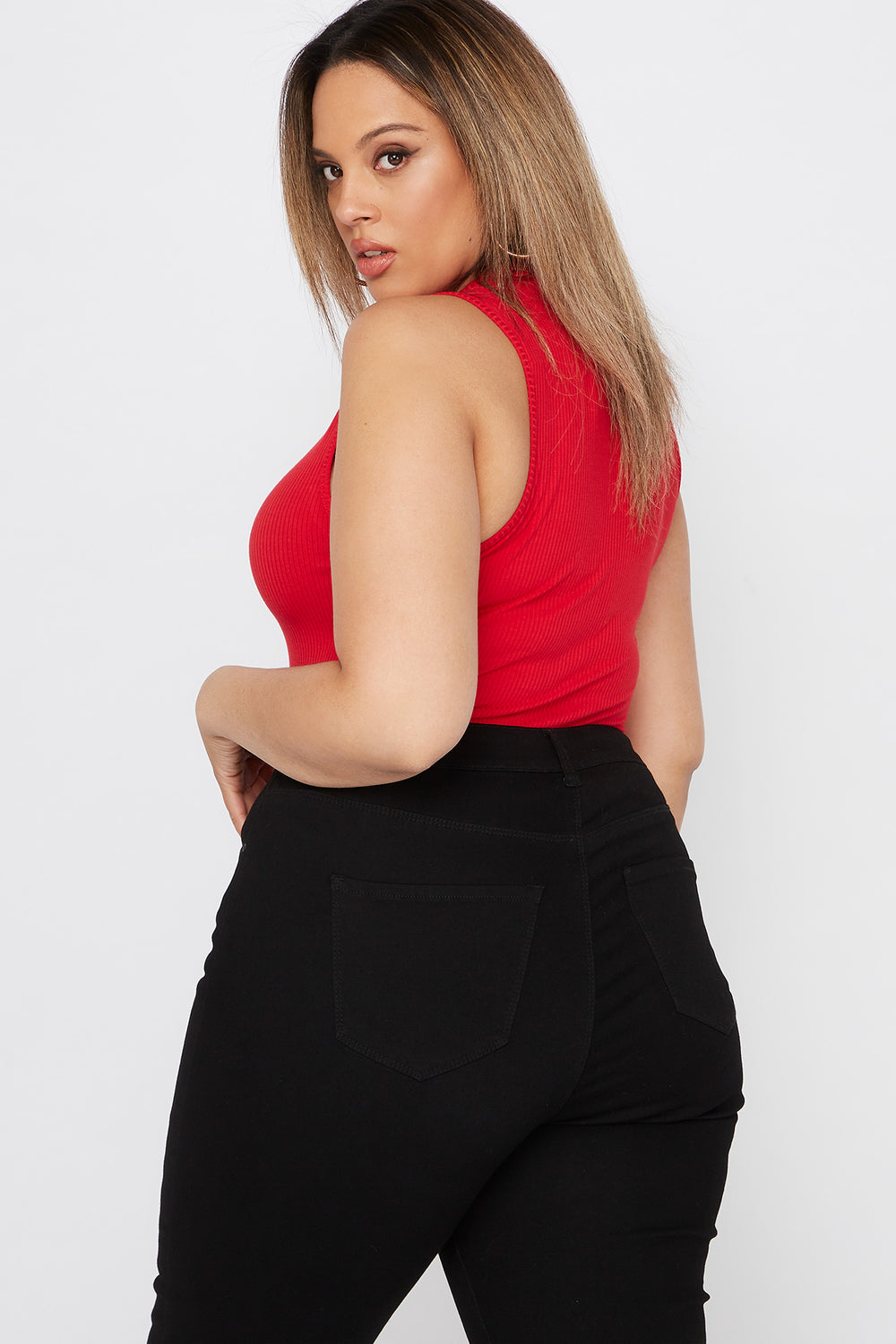 Plus Size Ribbed Mock Neck Bodysuit Red