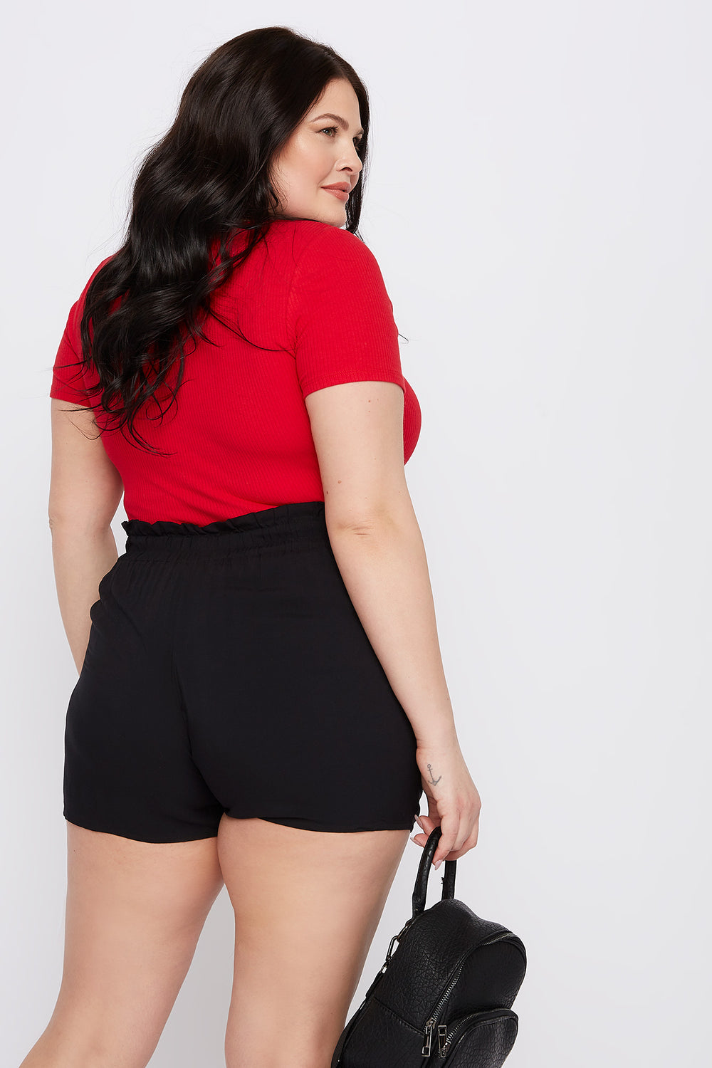 Plus Size Ribbed V-Neck Bodysuit Red