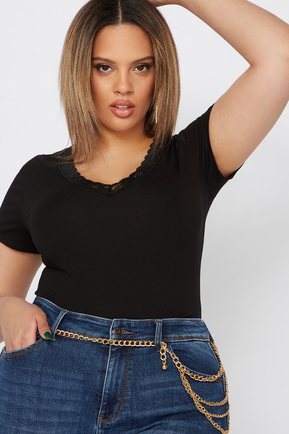 Plus Size Lace Trim V-Neck Bodysuit Black