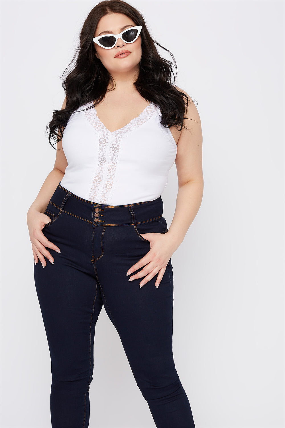 Plus Size Lace Trim V-Neck Tank Bodysuit White