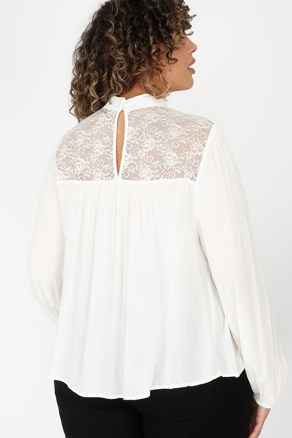 Plus Size Lace Insert Mock Neck Long Sleeve Blouse Off White