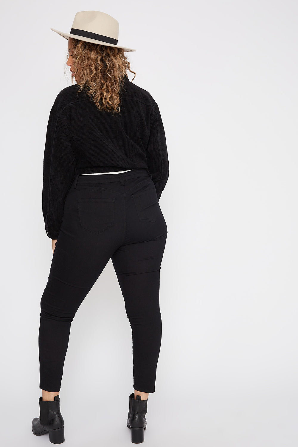 Plus Size Butt, I Love You Twill Stretch Push-Up Skinny Jean Black