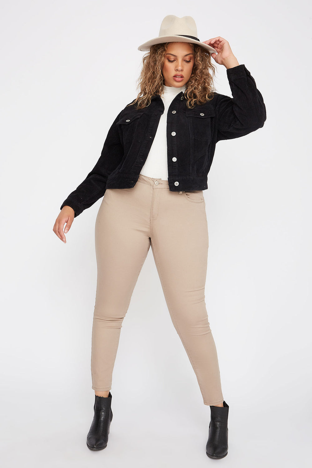 Plus Size Butt, I Love You Twill Stretch Push-Up Skinny Jean Khaki