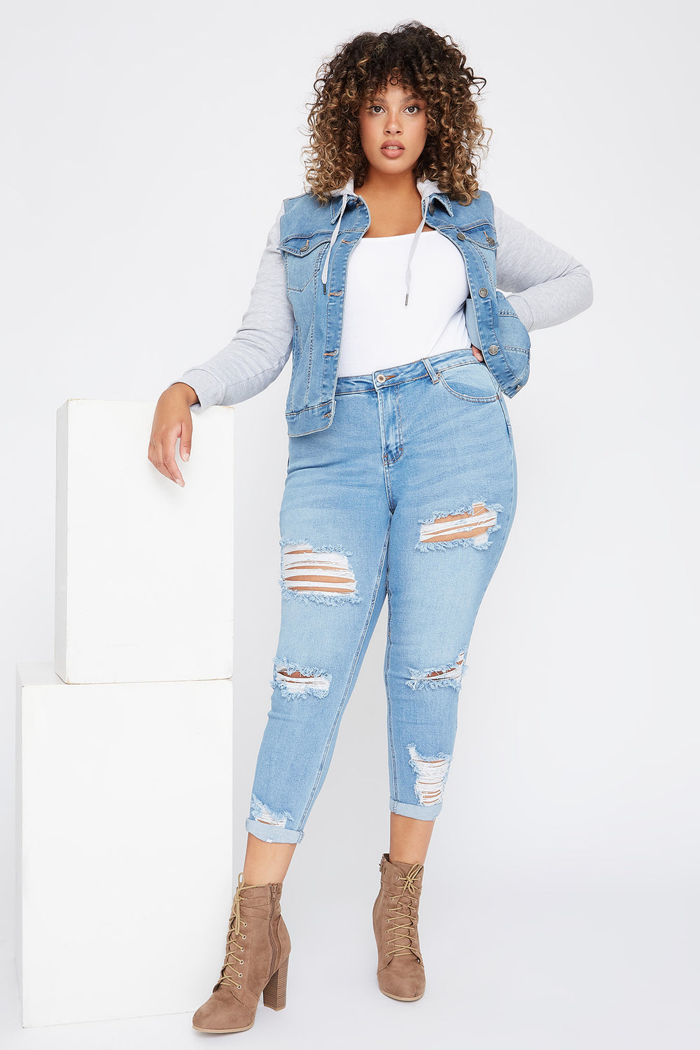 Plus Size High-Rise Distressed Cropped Skinny Jean Sky Blue