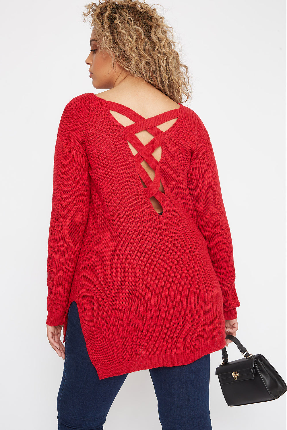 Plus Size V-Neck Cross Back Sweater Red