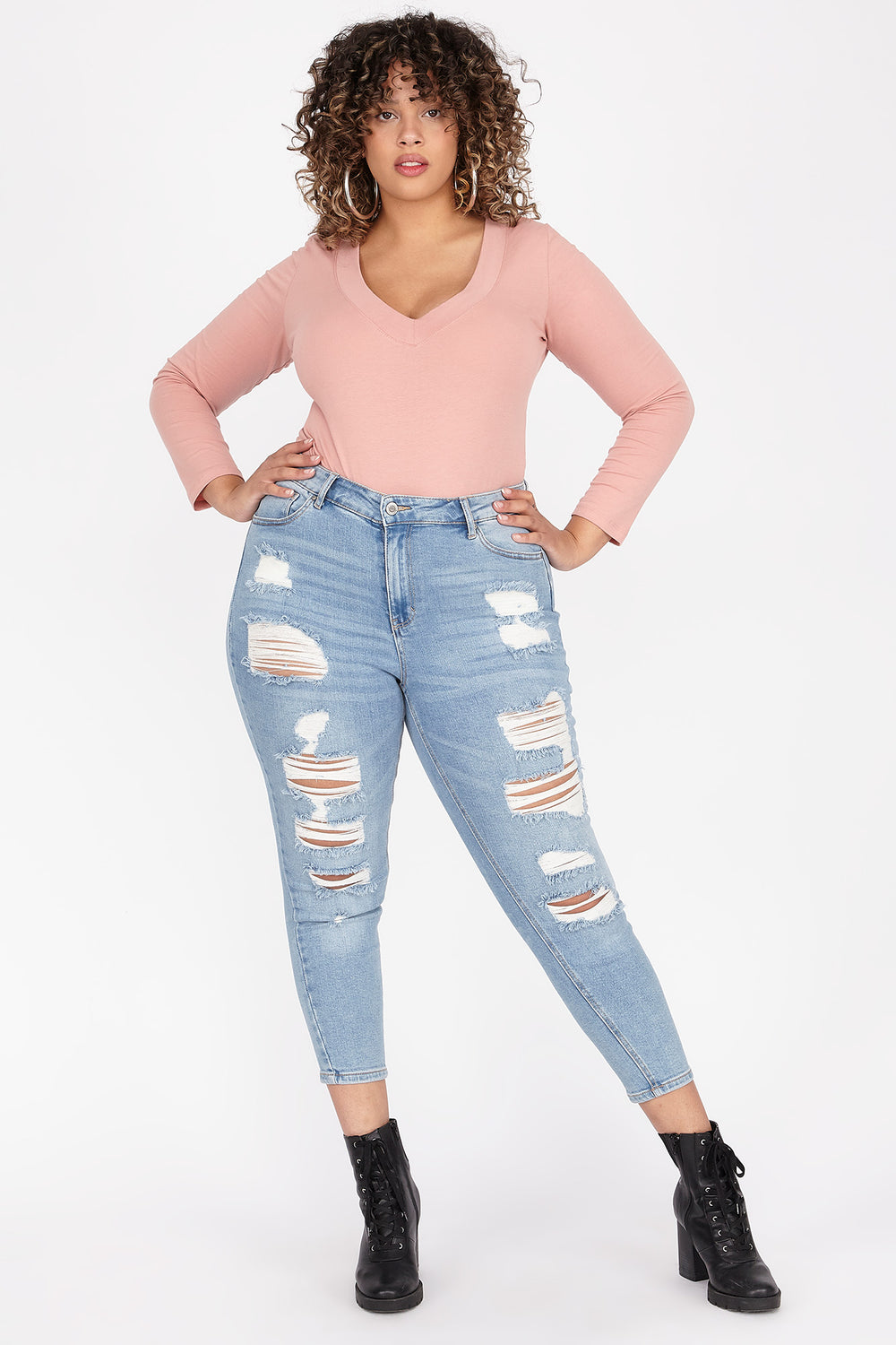 Plus Size High-Rise Distressed Skinny Jean Sky Blue