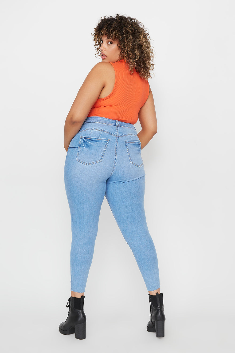 Plus Size Butt, I Love You Push-Up High-Rise Distressed Cropped Skinny Jean Sky Blue