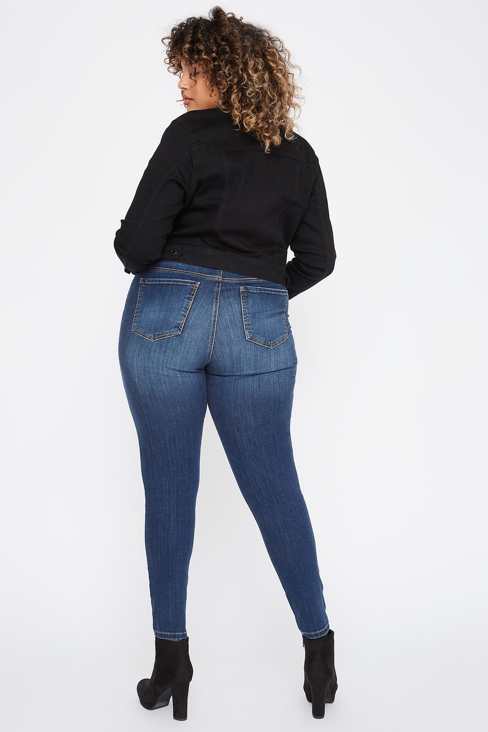 Plus Size High-Rise Distressed Skinny Jean Navy Blue