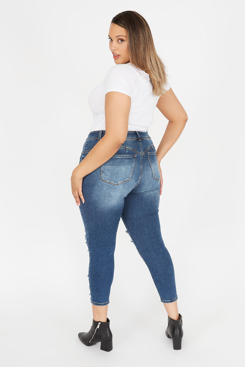 Plus Size 2-Tier High-Rise Push-Up Distressed Skinny Jean Navy Blue