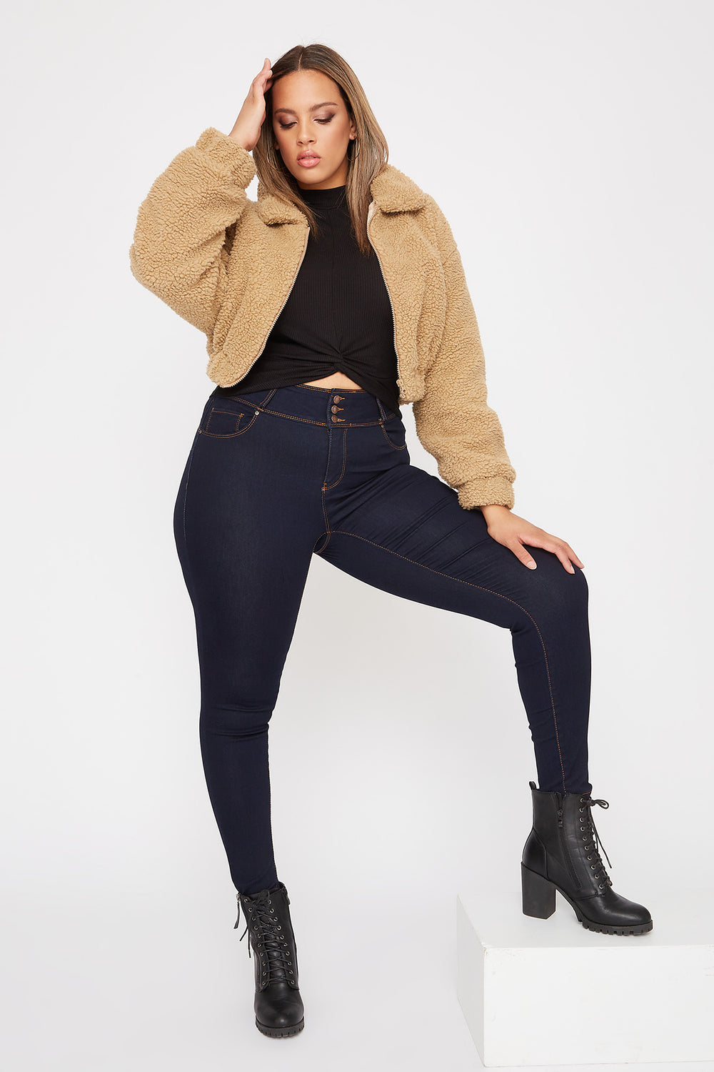 Plus Size Butt, I Love You 3-Tier High-Rise Push-Up Skinny Jean Dark Blue