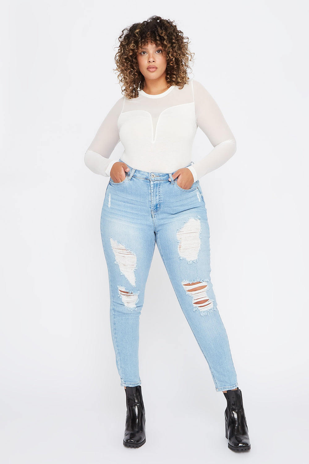Plus Size Vintage Distressed Skinny Denim Light Denim Blue