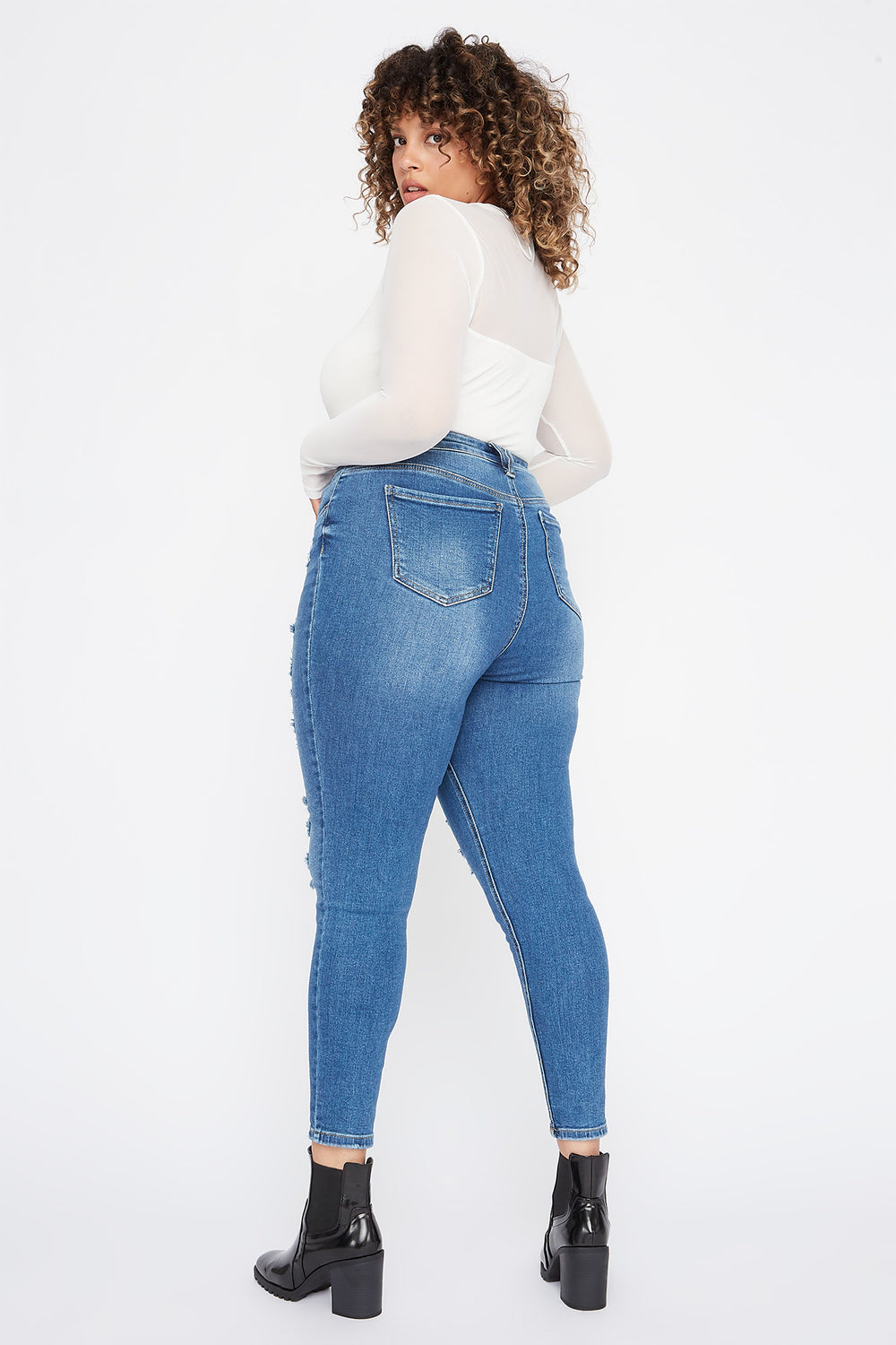 Plus Size Vintage Distressed Skinny Denim Medium Blue