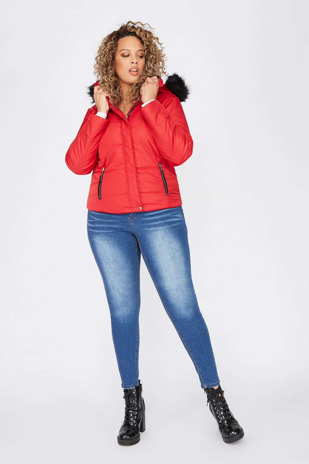 Plus Size Detachable Faux-Fur Hooded Puffer Jacket Red