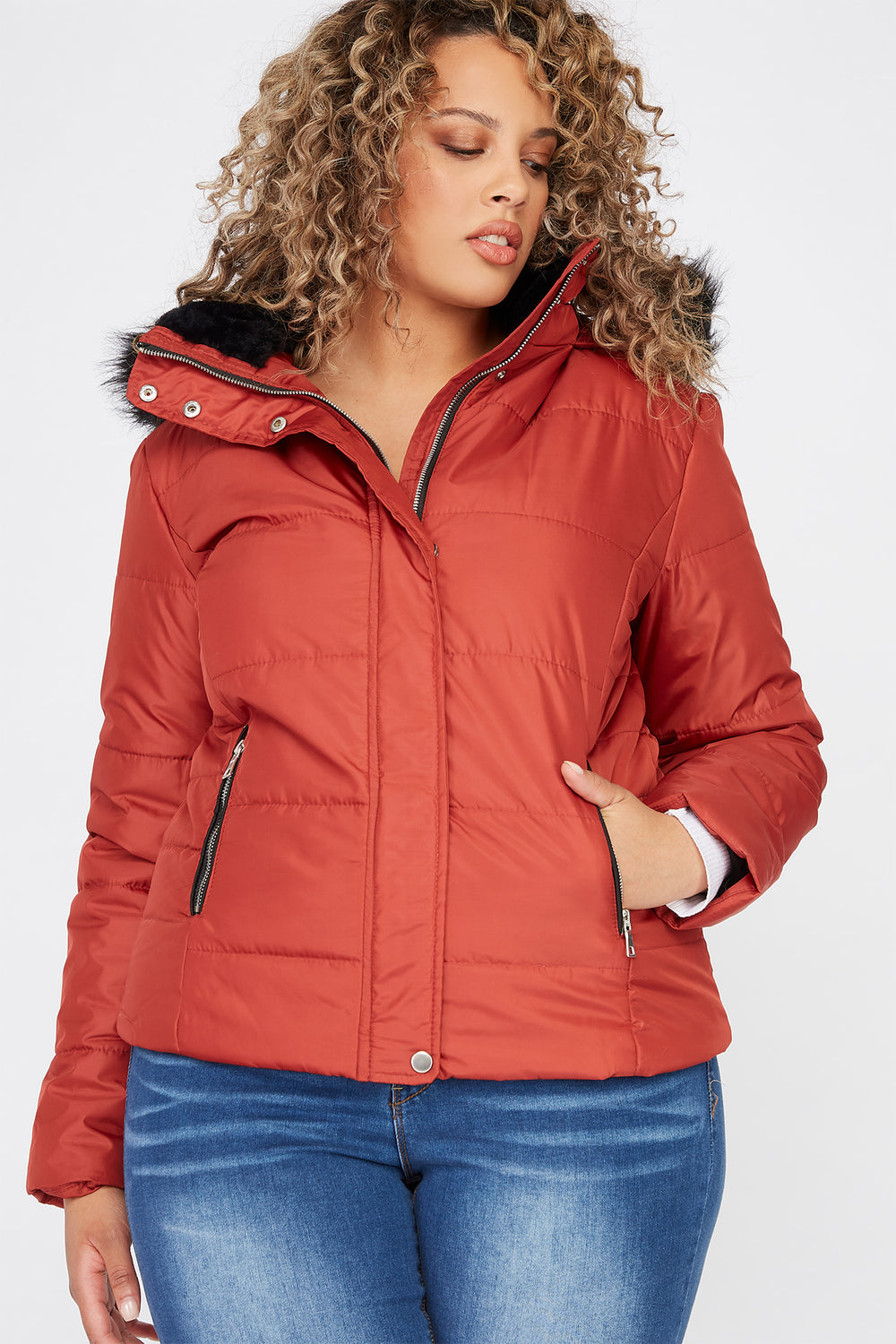 Plus Size Detachable Faux-Fur Hooded Puffer Jacket Rust