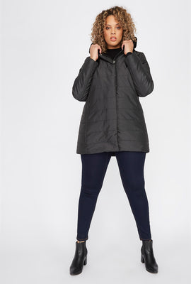 Plus Size Faux-Fur Trimmed Hooded Puffer Jacket