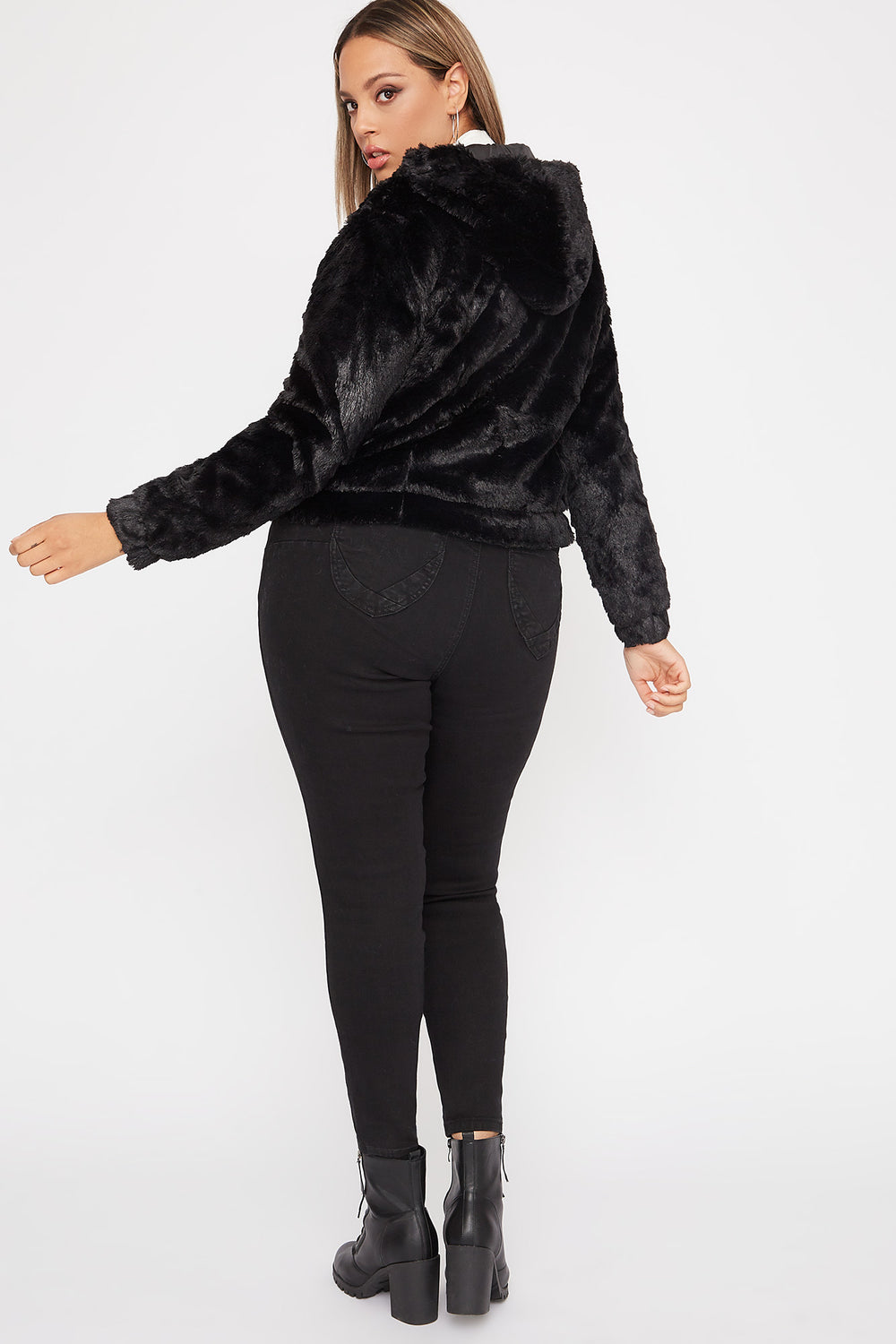 Plus Size Faux-Fur Zip-Up Hooded Bomber Jacket Black