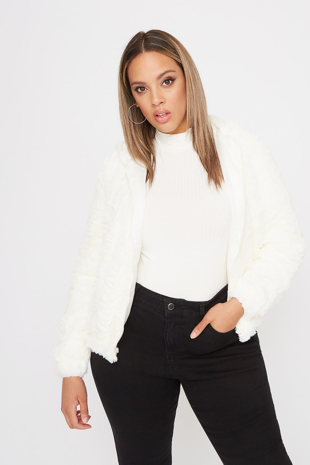 Plus Size Faux-Fur Zip-Up Hooded Bomber Jacket Ivory