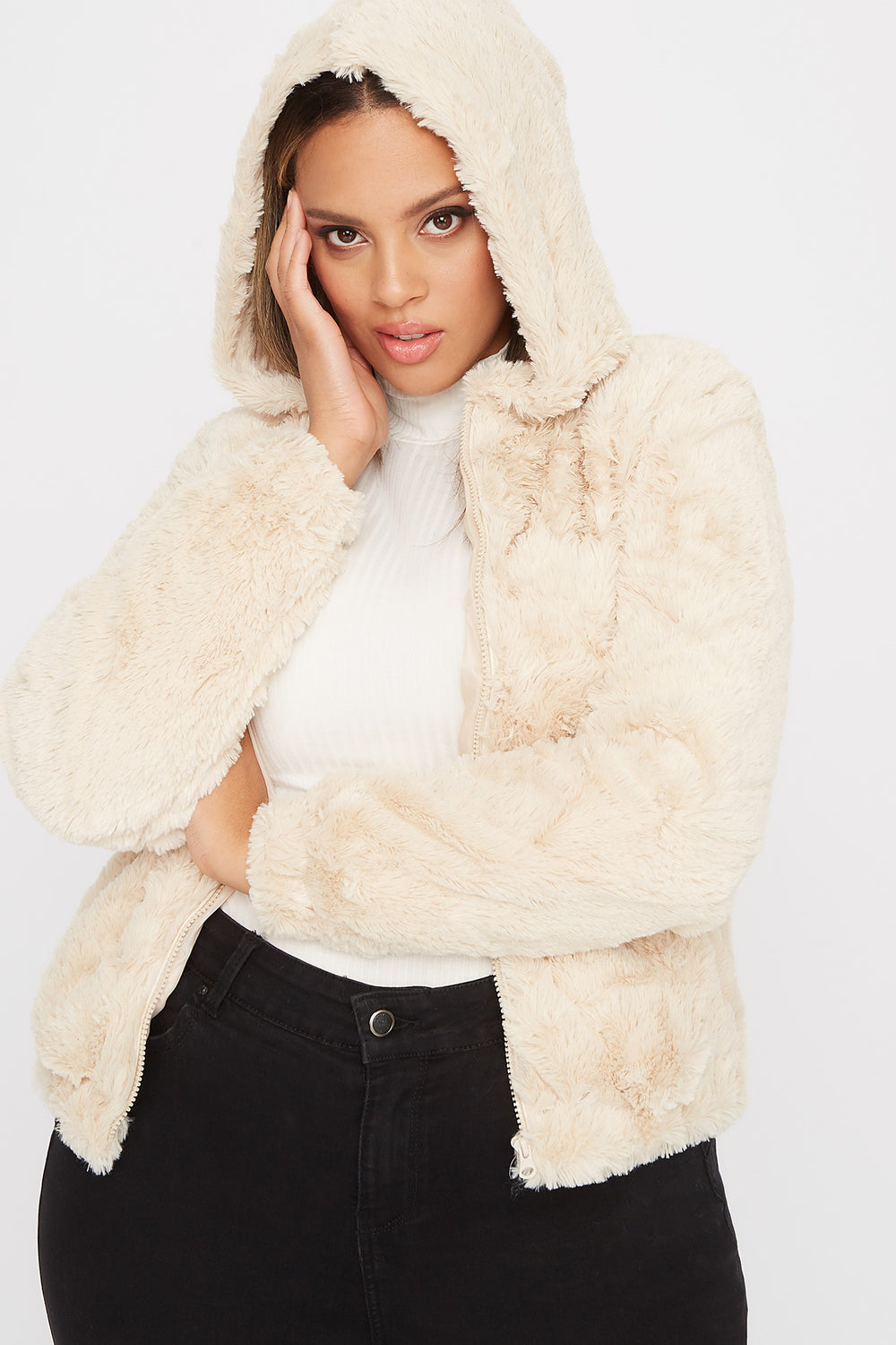 Plus Size Faux-Fur Zip-Up Hooded Bomber Jacket Taupe