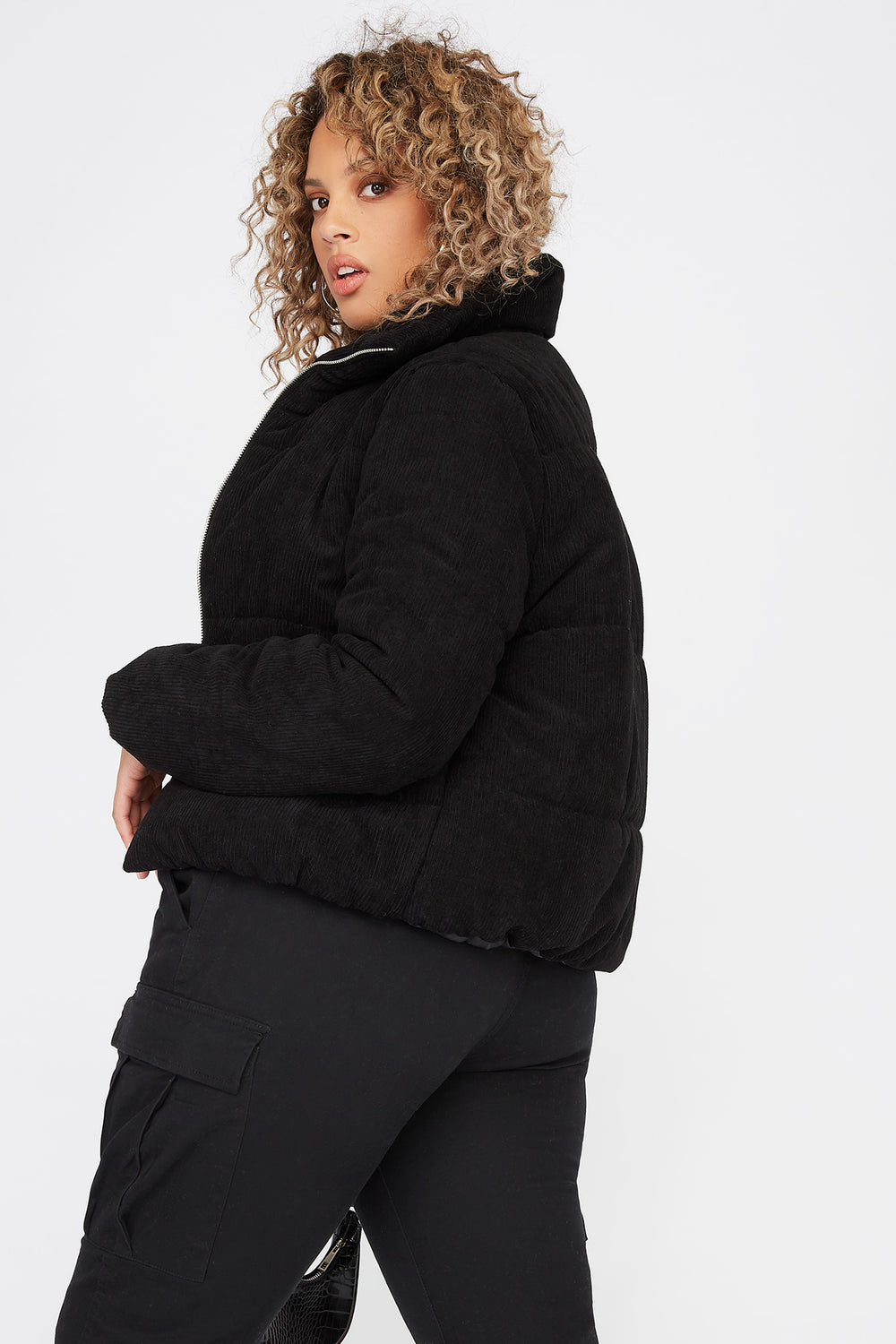 Plus Size Corduroy Puffer Jacket Black